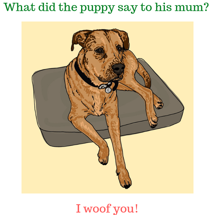 What did the puppy say to his mum I woof you!